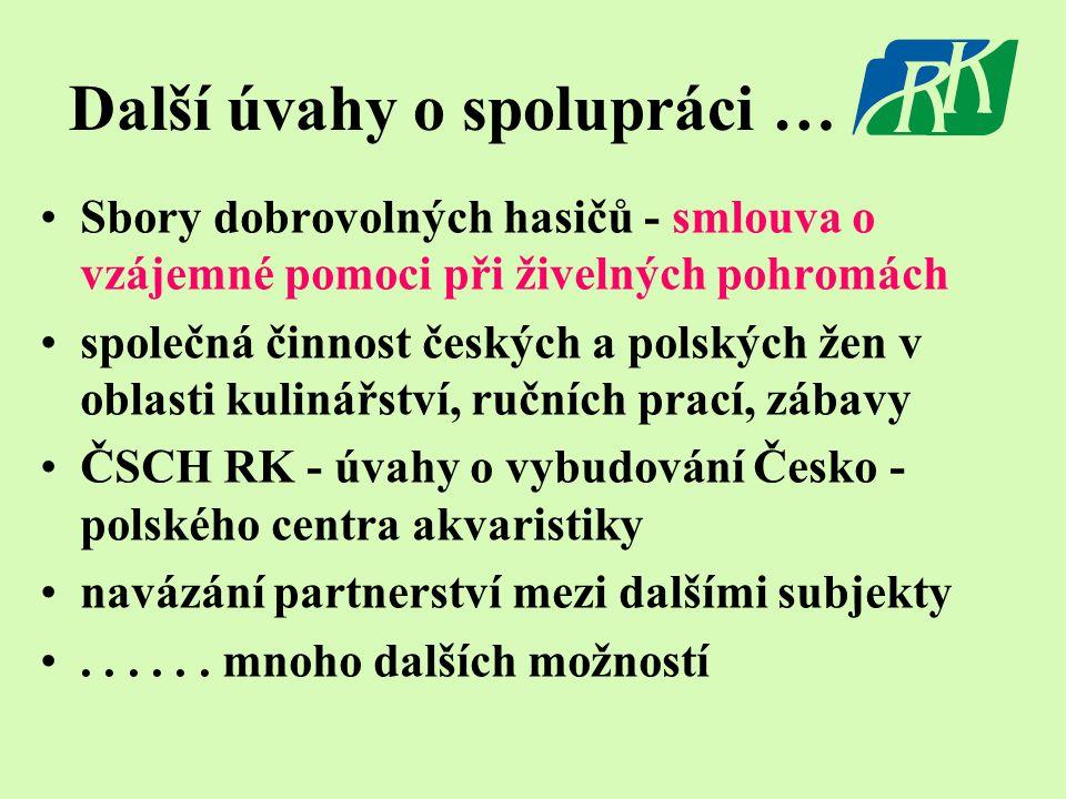 Další úvahy o spolupráci … •Sbory dobrovolných hasičů - smlouva o vzájemné pomoci při živelných pohromách •společná činnost českých a polských žen v o