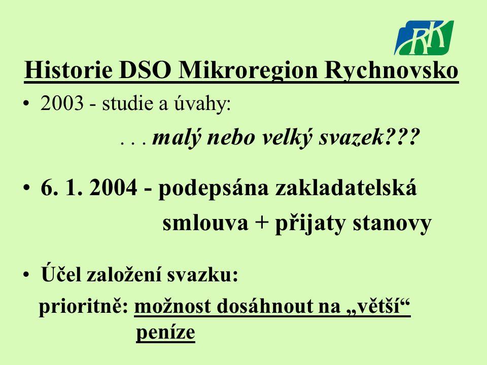 Historie DSO Mikroregion Rychnovsko •2003 - studie a úvahy:... malý nebo velký svazek??? •6. 1. 2004 - podepsána zakladatelská smlouva + přijaty stano