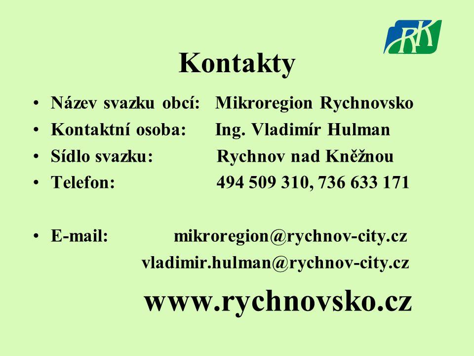 Kontakty •Název svazku obcí: Mikroregion Rychnovsko •Kontaktní osoba: Ing.