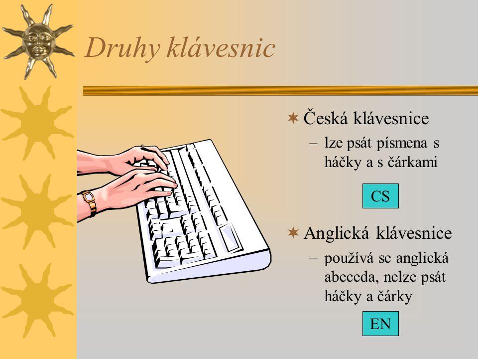 Druhy klávesnic  Česká klávesnice –lze psát písmena s háčky a s čárkami  Anglická klávesnice –používá se anglická abeceda, nelze psát háčky a čárky
