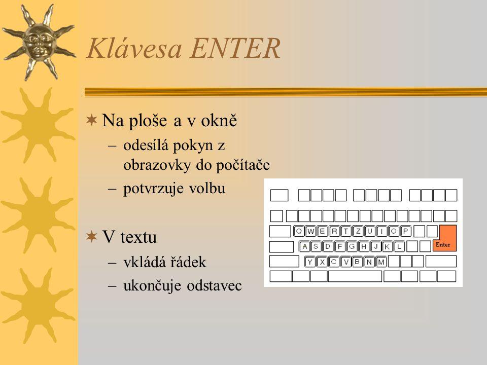 Klávesa ENTER  Na ploše a v okně –odesílá pokyn z obrazovky do počítače –potvrzuje volbu  V textu –vkládá řádek –ukončuje odstavec