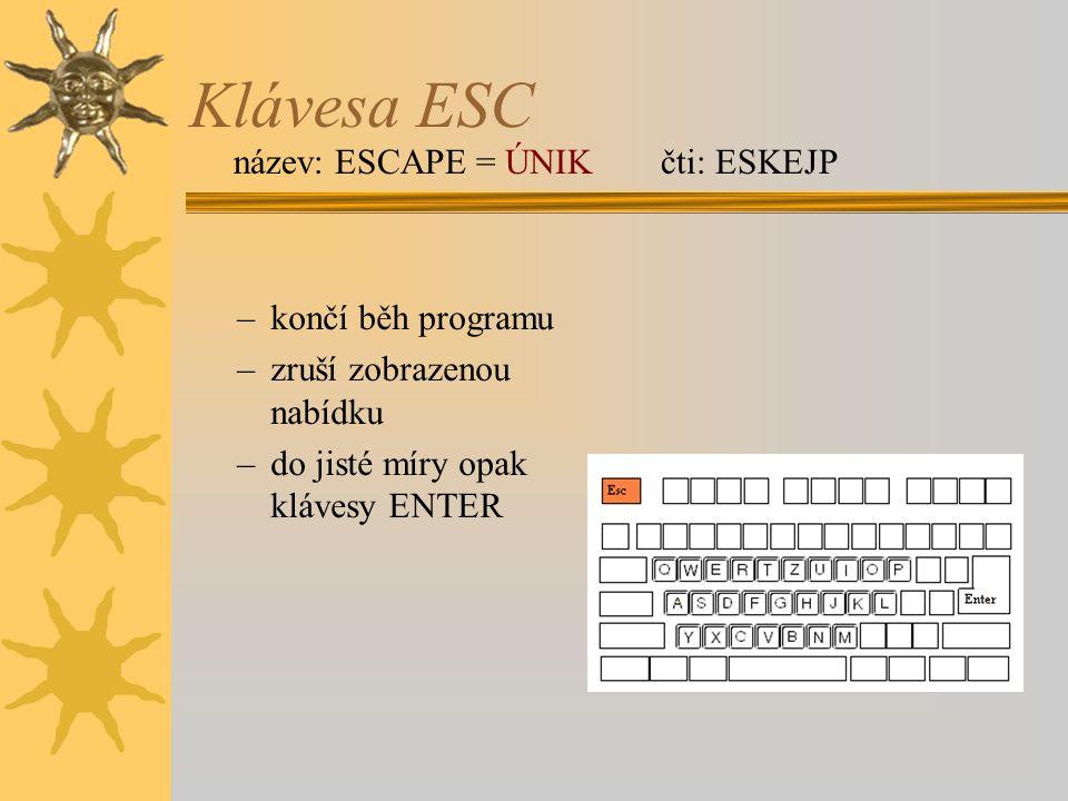 Klávesa ESC –končí běh programu –zruší zobrazenou nabídku –do jisté míry opak klávesy ENTER název: ESCAPE = ÚNIKčti: ESKEJP