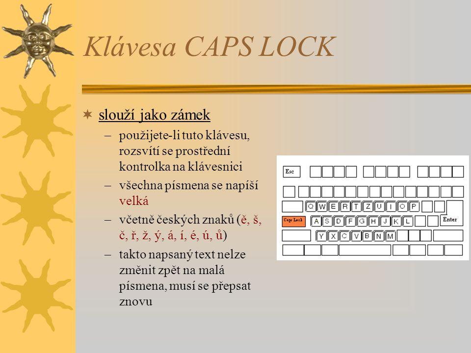 Klávesa CAPS LOCK  slouží jako zámek –použijete-li tuto klávesu, rozsvítí se prostřední kontrolka na klávesnici –všechna písmena se napíší velká –vče