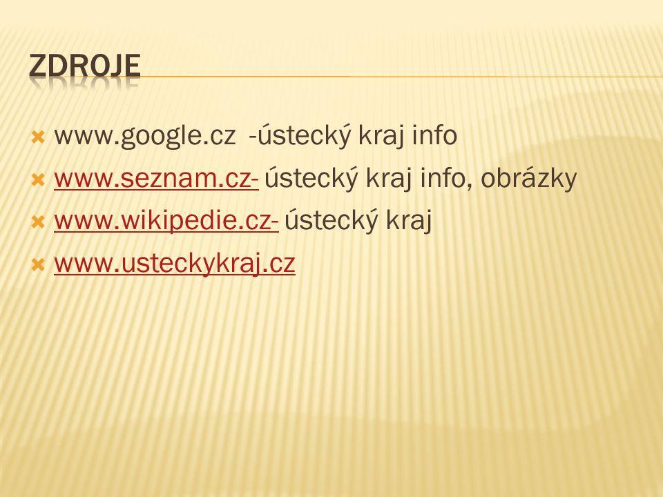  www.google.cz -ústecký kraj info  www.seznam.cz- ústecký kraj info, obrázky www.seznam.cz-  www.wikipedie.cz- ústecký kraj www.wikipedie.cz-  www