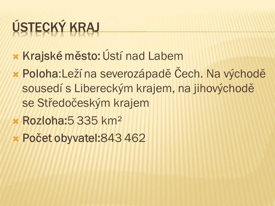  Krajské město: Ústí nad Labem  Poloha:Leží na severozápadě Čech. Na východě sousedí s Libereckým krajem, na jihovýchodě se Středočeským krajem  Ro