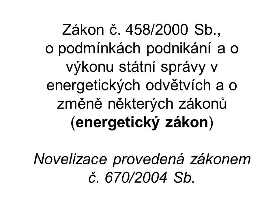Zákon č. 458/2000 Sb., o podmínkách podnikání a o výkonu státní správy v energetických odvětvích a o změně některých zákonů (energetický zákon) Noveli