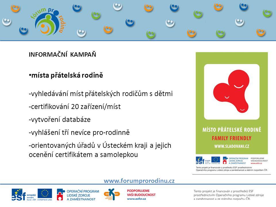 www.forumprorodinu.cz INFORMAČNÍ KAMPAŇ • místa přátelská rodině -vyhledávání míst přátelských rodičům s dětmi -certifikování 20 zařízení/míst -vytvoření databáze -vyhlášení tří nevíce pro-rodinně -orientovaných úřadů v Ústeckém kraji a jejich ocenění certifikátem a samolepkou