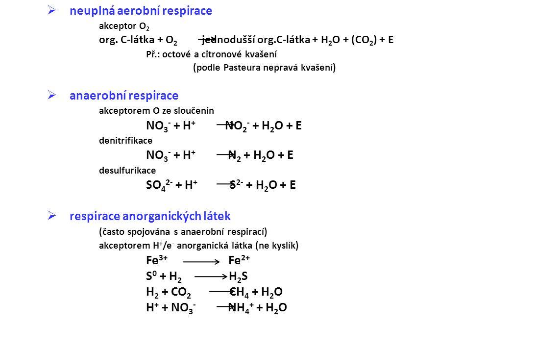  neuplná aerobní respirace akceptor O 2 org. C-látka + O 2 jednodušší org.C-látka + H 2 O + (CO 2 ) + E Př.: octové a citronové kvašení (podle Pasteu