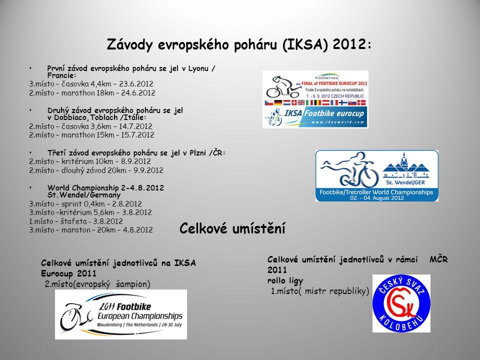Závody evropského poháru (IKSA) 2012: •První závod evropského poháru se jel v Lyonu / Francie: 3.místo – časovka 4,4km – 23.6.2012 2.místo – marathon