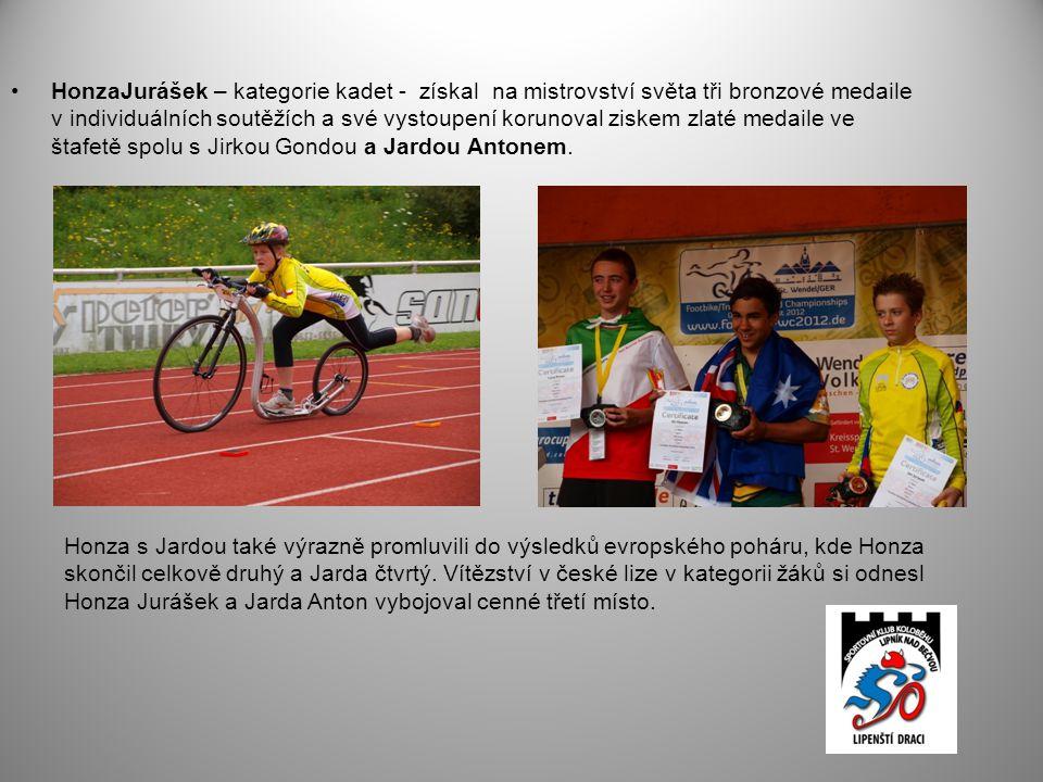 •HonzaJurášek – kategorie kadet - získal na mistrovství světa tři bronzové medaile v individuálních soutěžích a své vystoupení korunoval ziskem zlaté