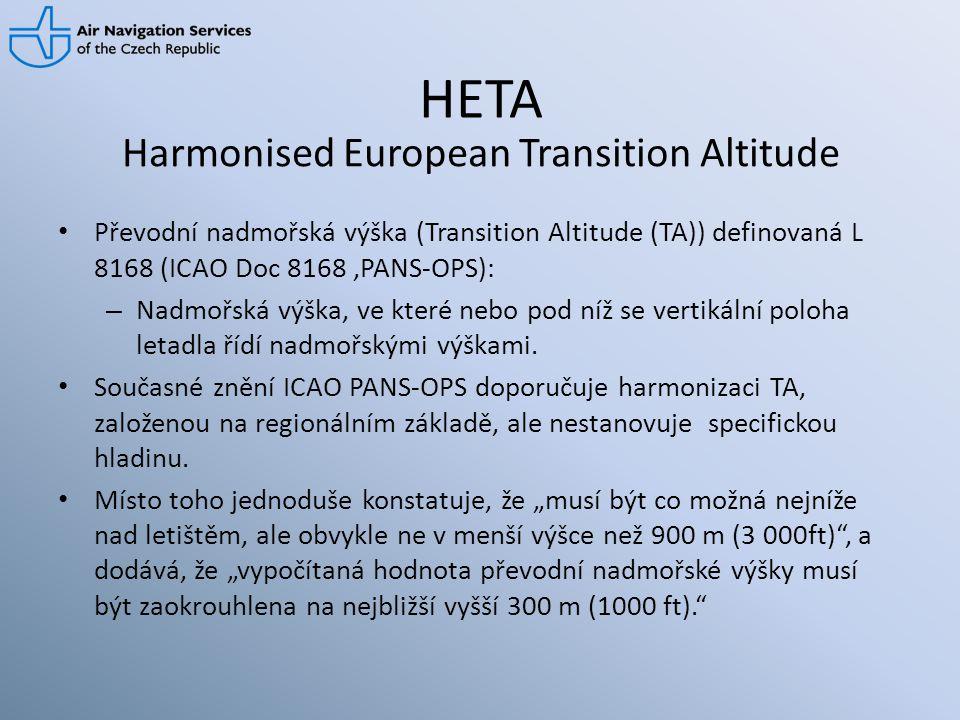 HETA • Převodní nadmořská výška (Transition Altitude (TA)) definovaná L 8168 (ICAO Doc 8168,PANS-OPS): – Nadmořská výška, ve které nebo pod níž se ver