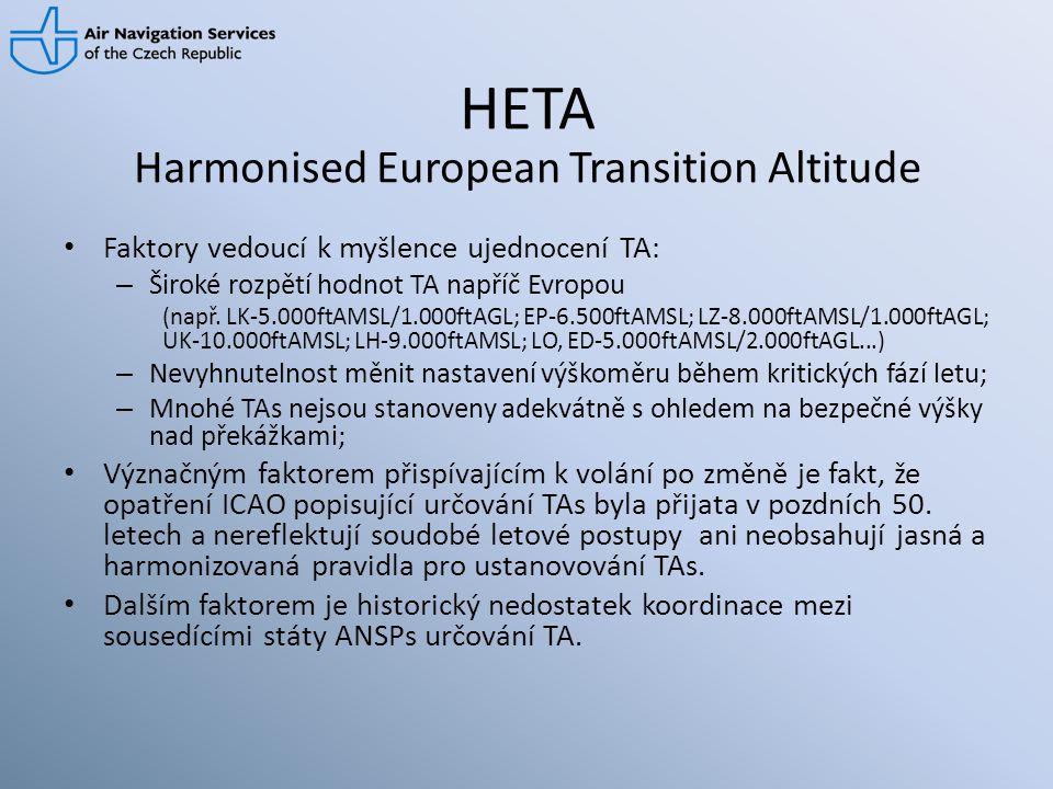 HETA • Faktory vedoucí k myšlence ujednocení TA: – Široké rozpětí hodnot TA napříč Evropou (např. LK-5.000ftAMSL/1.000ftAGL; EP-6.500ftAMSL; LZ-8.000f