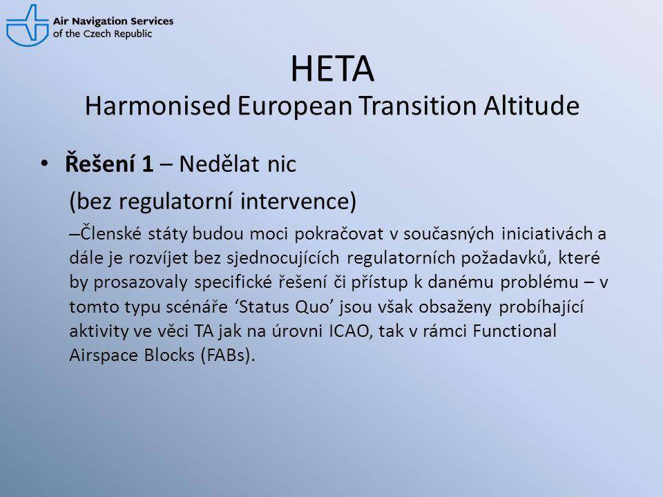 HETA • Řešení 1 – Nedělat nic (bez regulatorní intervence) – Členské státy budou moci pokračovat v současných iniciativách a dále je rozvíjet bez sjed