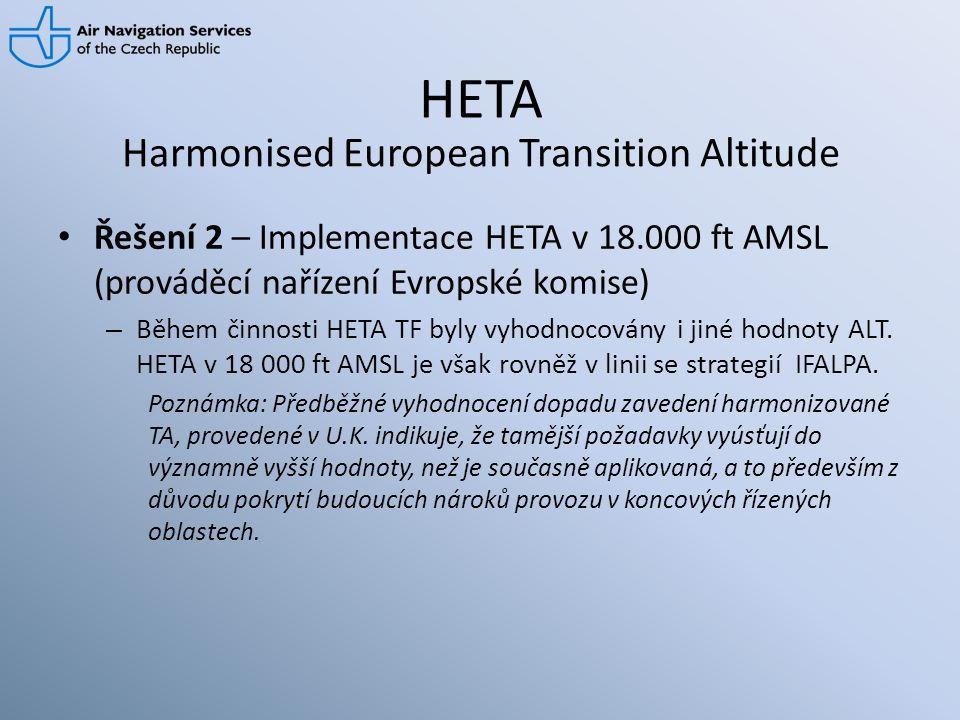 HETA • Řešení 2 – Implementace HETA v 18.000 ft AMSL (prováděcí nařízení Evropské komise) – Během činnosti HETA TF byly vyhodnocovány i jiné hodnoty A