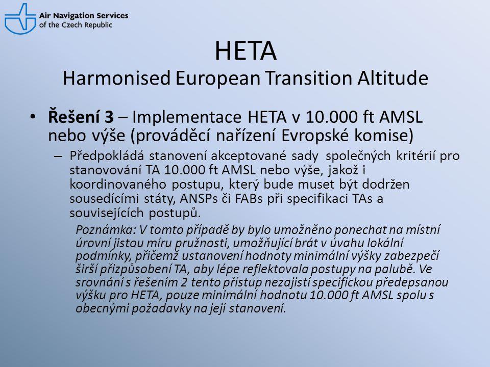 HETA • Řešení 3 – Implementace HETA v 10.000 ft AMSL nebo výše (prováděcí nařízení Evropské komise) – Předpokládá stanovení akceptované sady společnýc