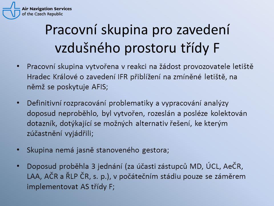 Pracovní skupina pro zavedení vzdušného prostoru třídy F • Pracovní skupina vytvořena v reakci na žádost provozovatele letiště Hradec Králové o zavede
