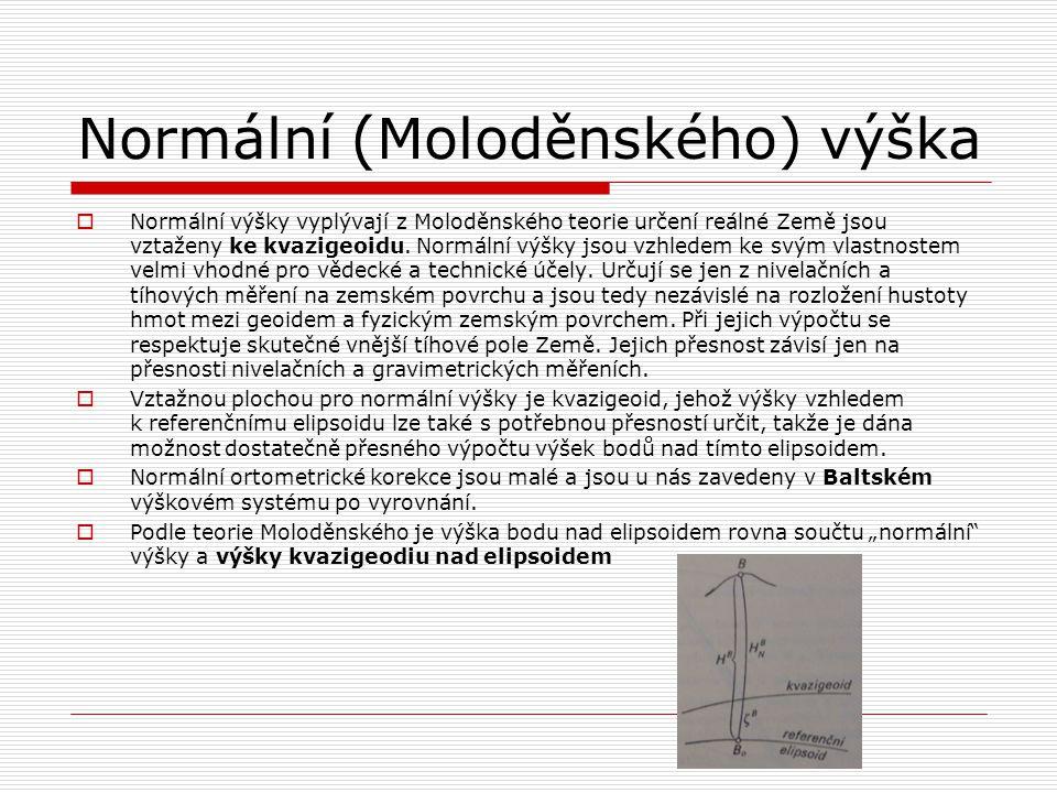 Normální ( Moloděnského) výška  Normální výšky vyplývají z Moloděnského teorie určení reálné Země jsou vztaženy ke kvazigeoidu. Normální výšky jsou v