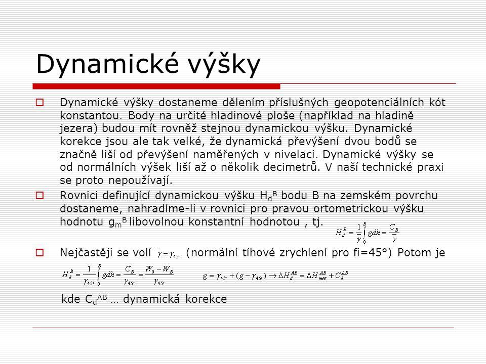 Dynamické výšky  Dynamické výšky dostaneme dělením příslušných geopotenciálních kót konstantou. Body na určité hladinové ploše (například na hladině