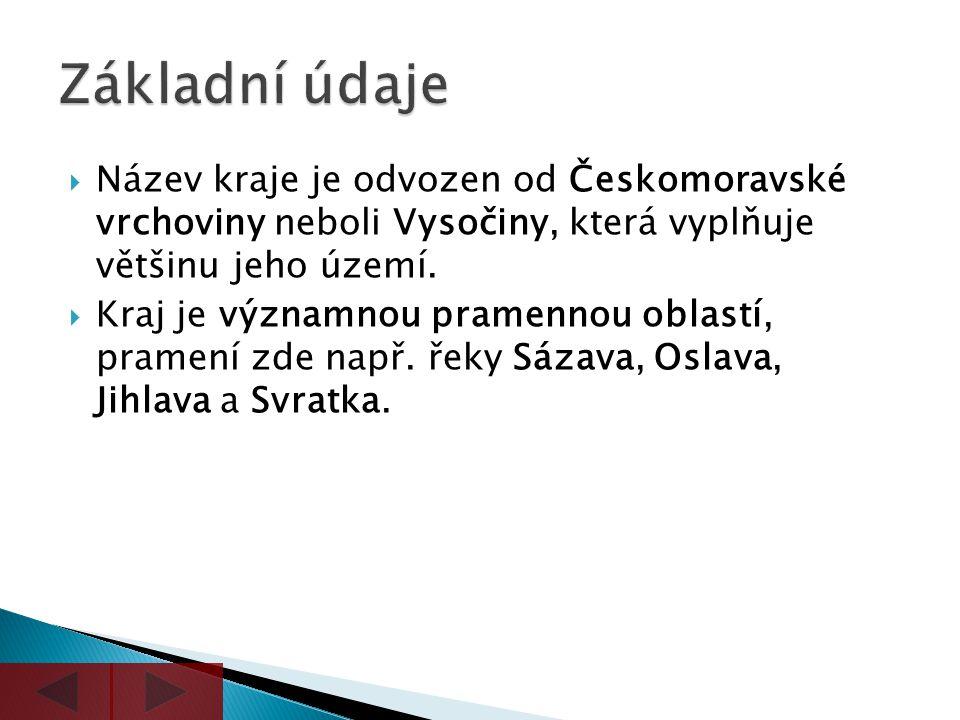  Název kraje je odvozen od Českomoravské vrchoviny neboli Vysočiny, která vyplňuje většinu jeho území.  Kraj je významnou pramennou oblastí, pramení