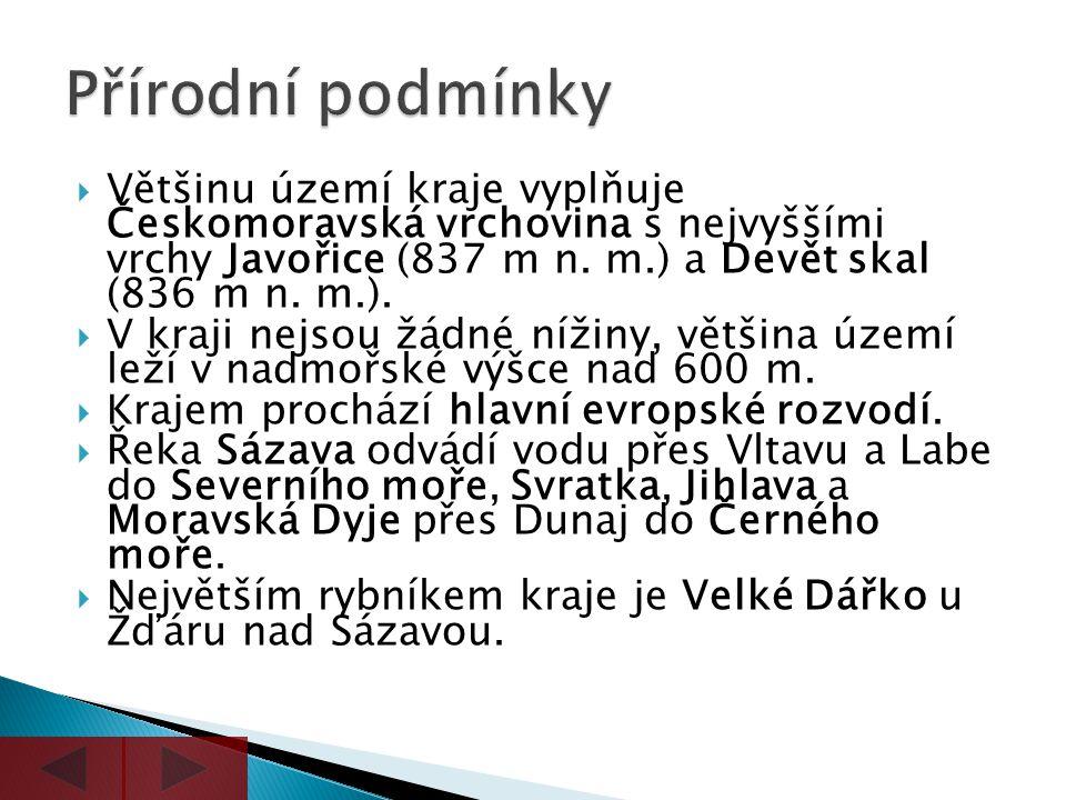  Většinu území kraje vyplňuje Českomoravská vrchovina s nejvyššími vrchy Javořice (837 m n. m.) a Devět skal (836 m n. m.).  V kraji nejsou žádné ní