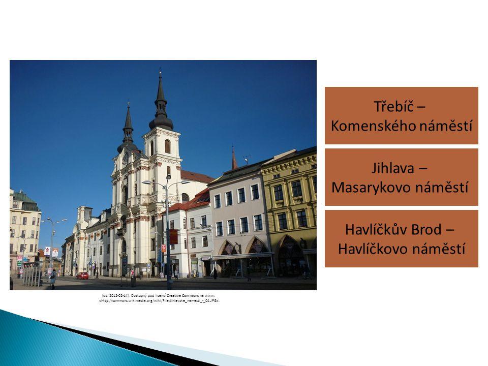 Třebíč – Komenského náměstí Havlíčkův Brod – Havlíčkovo náměstí Jihlava – Masarykovo náměstí [cit. 2012-02-14]. Dostupný pod licencí Creative Commons