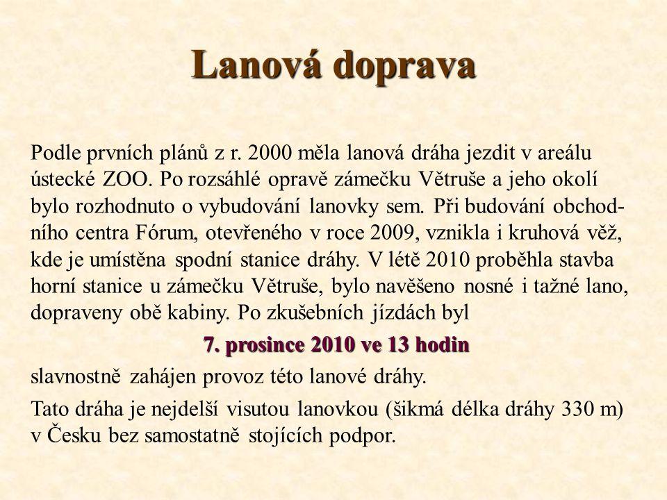 Lanová doprava Podle prvních plánů z r.2000 měla lanová dráha jezdit v areálu ústecké ZOO.