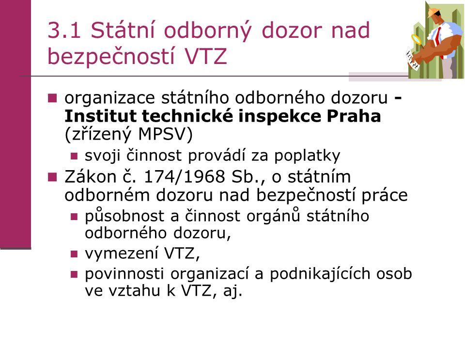 3.1 Státní odborný dozor nad bezpečností VTZ  organizace státního odborného dozoru - Institut technické inspekce Praha (zřízený MPSV)  svoji činnost