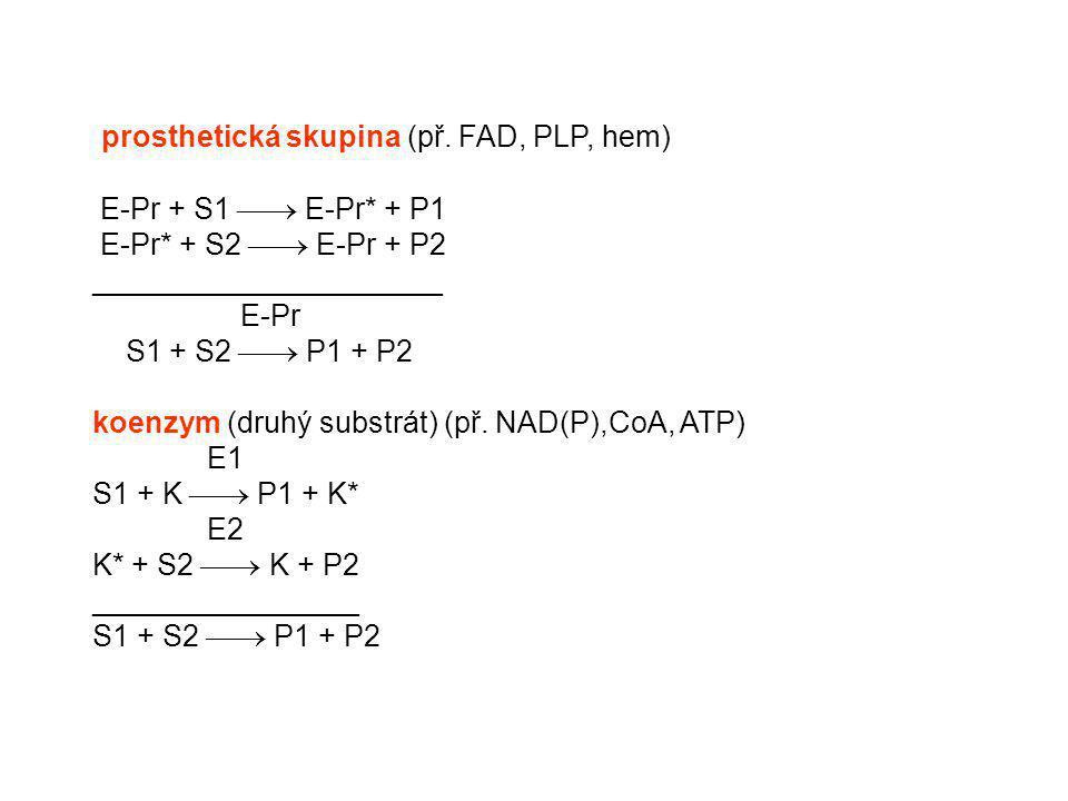 prosthetická skupina (př. FAD, PLP, hem) E-Pr + S1  E-Pr* + P1 E-Pr* + S2  E-Pr + P2 _____________________ E-Pr S1 + S2  P1 + P2 koenzym (druhý