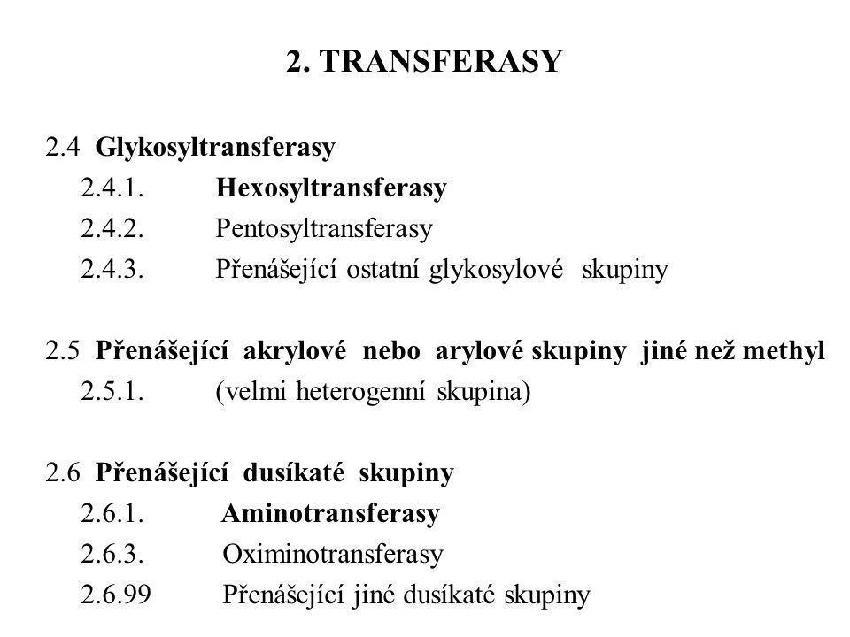 2.4 Glykosyltransferasy 2.4.1.Hexosyltransferasy 2.4.2.Pentosyltransferasy 2.4.3.Přenášející ostatní glykosylové skupiny 2.5 Přenášející akrylové nebo