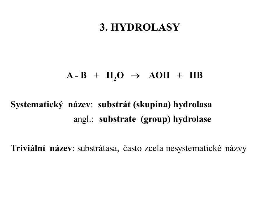 A _ B + H 2 O  AOH + HB Systematický název: substrát (skupina) hydrolasa angl.: substrate (group) hydrolase Triviální název: substrátasa, často zcela