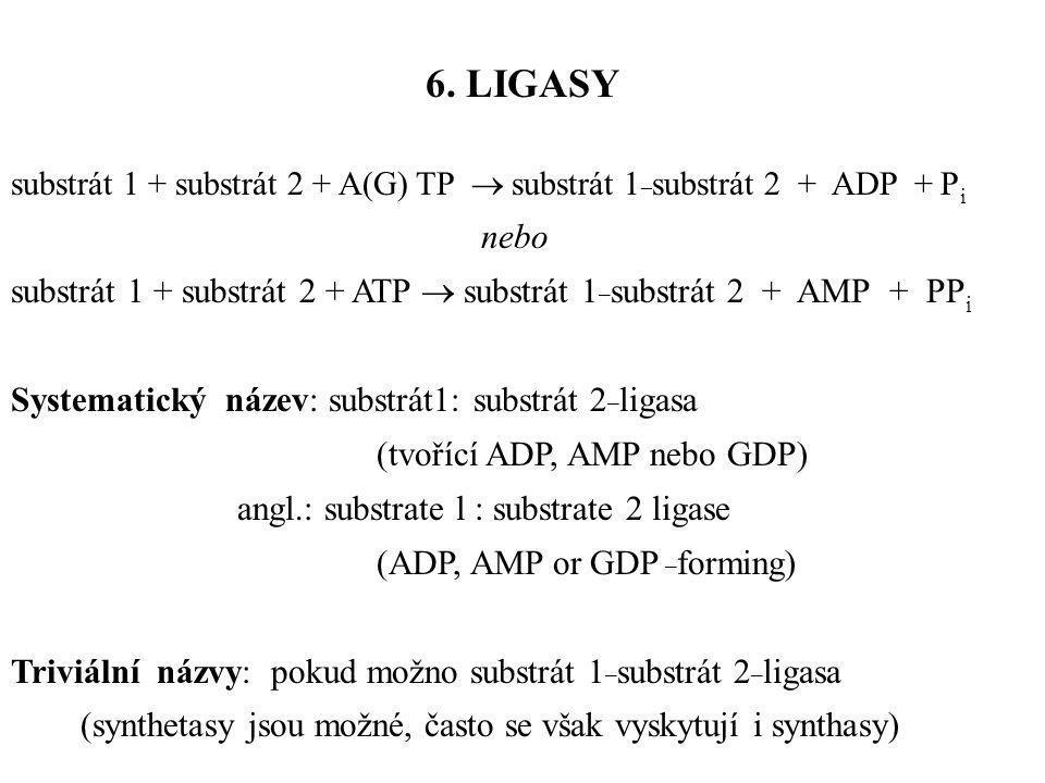 substrát 1 + substrát 2 + A(G) TP  substrát 1 _ substrát 2 + ADP + P i nebo substrát 1 + substrát 2 + ATP  substrát 1 _ substrát 2 + AMP + PP i Syst