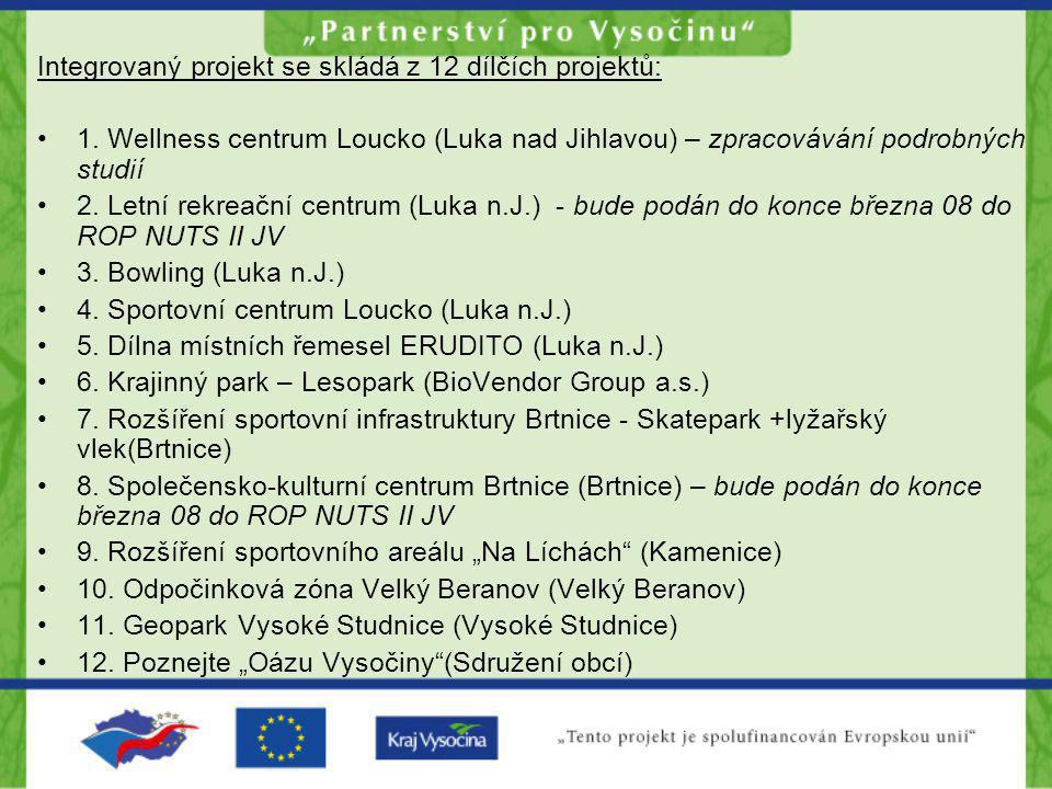 Integrovaný projekt se skládá z 12 dílčích projektů: •1. Wellness centrum Loucko (Luka nad Jihlavou) – zpracovávání podrobných studií •2. Letní rekrea