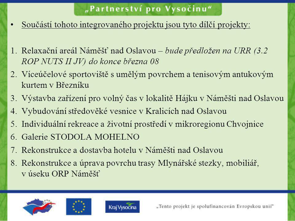 •Součástí tohoto integrovaného projektu jsou tyto dílčí projekty: 1.Relaxační areál Náměšť nad Oslavou – bude předložen na URR (3.2 ROP NUTS II JV) do