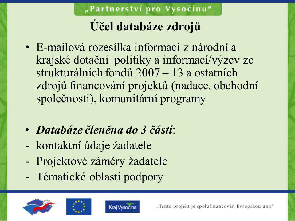 Účel databáze zdrojů •E-mailová rozesílka informací z národní a krajské dotační politiky a informací/výzev ze strukturálních fondů 2007 – 13 a ostatní