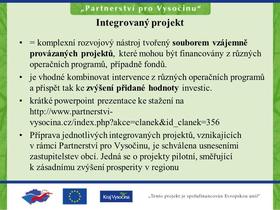"""Nosné projekty (integrované) •Vize: každá ORP 1 integrovaný projekt •Realita: ne každá ORP je připravena •kraj Vysočina: 13 """"integrovaných projektů •Zpracovatel předběžných studií proveditelnosti získal příspěvek z projektu na studii ve výši 460 hodin na 1 integrovaný projekt"""
