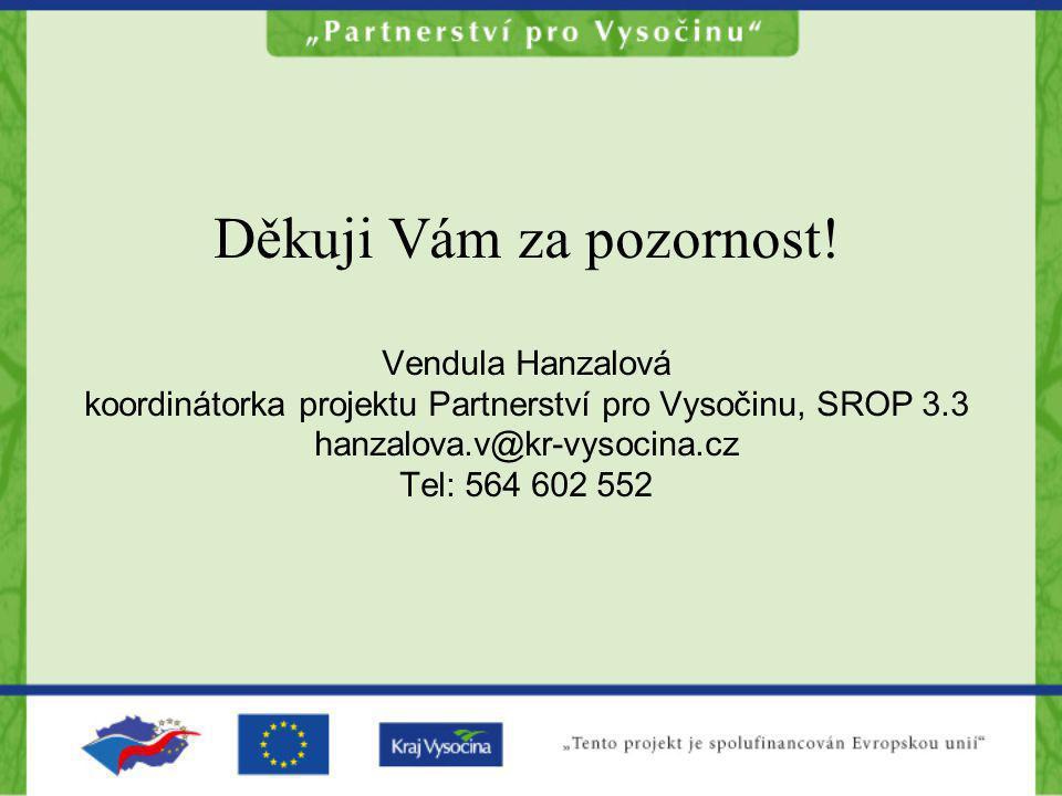 Děkuji Vám za pozornost! Vendula Hanzalová koordinátorka projektu Partnerství pro Vysočinu, SROP 3.3 hanzalova.v@kr-vysocina.cz Tel: 564 602 552