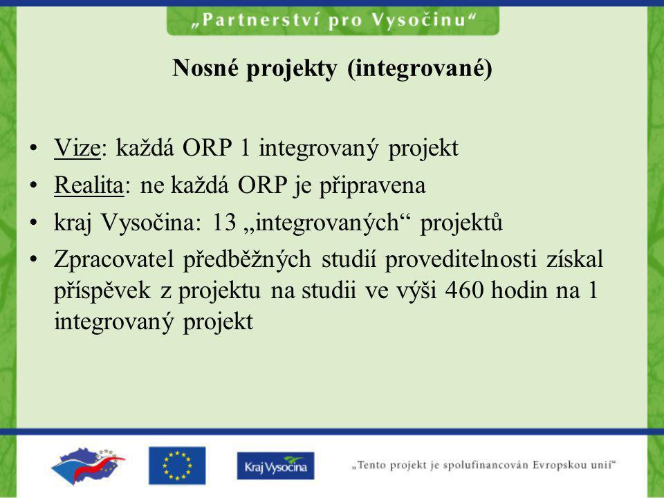 """Nosné projekty (integrované) •Vize: každá ORP 1 integrovaný projekt •Realita: ne každá ORP je připravena •kraj Vysočina: 13 """"integrovaných"""" projektů •"""