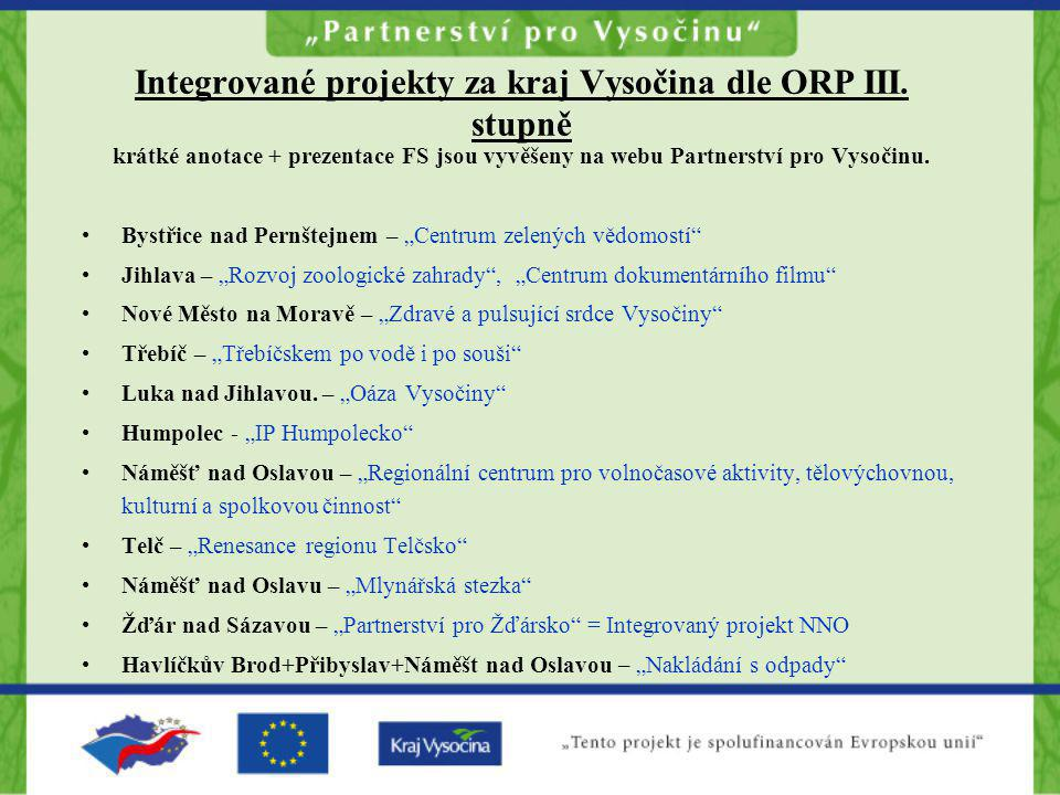 Integrované projekty za kraj Vysočina dle ORP III. stupně krátké anotace + prezentace FS jsou vyvěšeny na webu Partnerství pro Vysočinu. •Bystřice nad