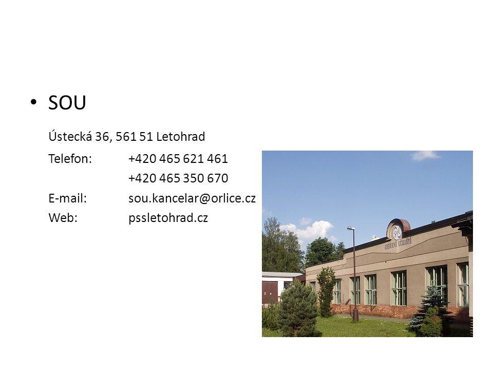 • SOU Ústecká 36, 561 51 Letohrad Telefon:+420 465 621 461 +420 465 350 670 E-mail:sou.kancelar@orlice.cz Web: pssletohrad.cz