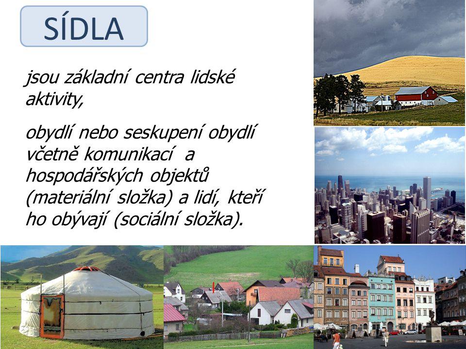SÍDLA jsou základní centra lidské aktivity, obydlí nebo seskupení obydlí včetně komunikací a hospodářských objektů (materiální složka) a lidí, kteří h