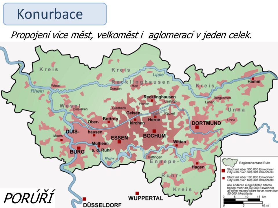 Konurbace Propojení více měst, velkoměst i aglomerací v jeden celek. PORÚŘÍ