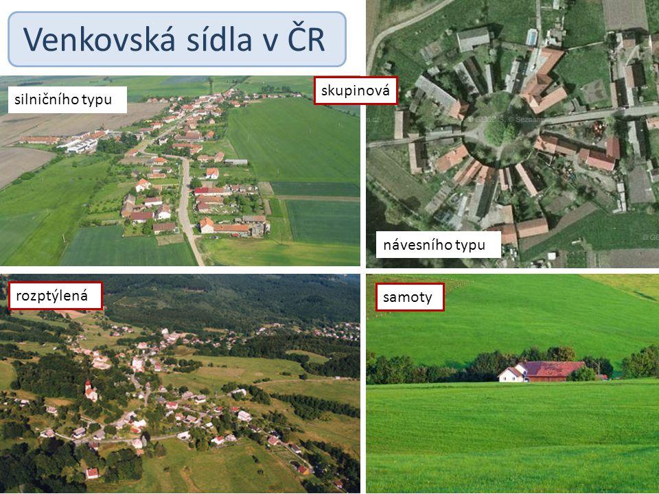 Venkovská sídla v ČR silničního typu samoty návesního typu rozptýlená skupinová
