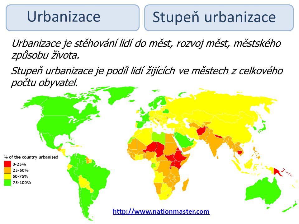 Urbanizace Stupeň urbanizace Urbanizace je stěhování lidí do měst, rozvoj měst, městského způsobu života. Stupeň urbanizace je podíl lidí žijících ve