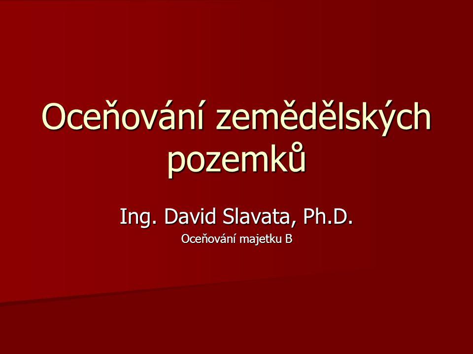 Oceňování zemědělských pozemků Ing. David Slavata, Ph.D. Oceňování majetku B