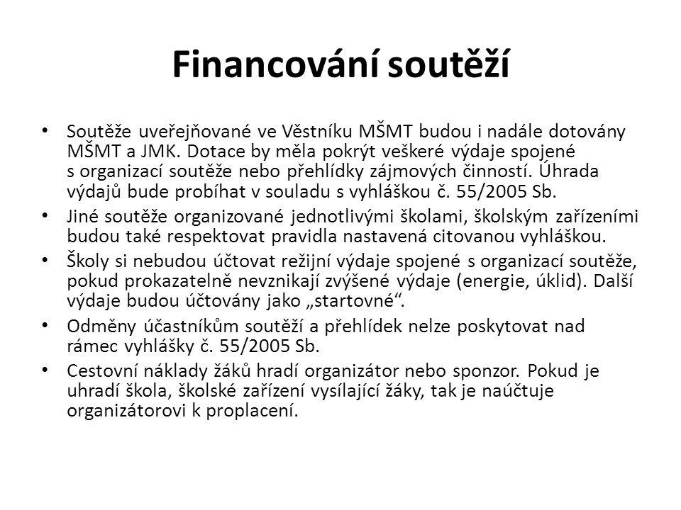 Financování soutěží • Soutěže uveřejňované ve Věstníku MŠMT budou i nadále dotovány MŠMT a JMK.