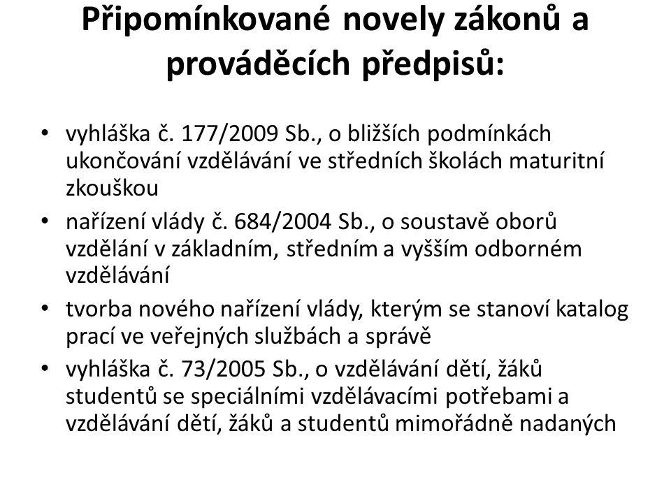 Připomínkované novely zákonů a prováděcích předpisů: • vyhláška č.