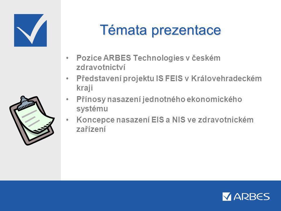 Témata prezentace •Pozice ARBES Technologies v českém zdravotnictví •Představení projektu IS FEIS v Královehradeckém kraji •Přínosy nasazení jednotného ekonomického systému •Koncepce nasazení EIS a NIS ve zdravotnickém zařízení