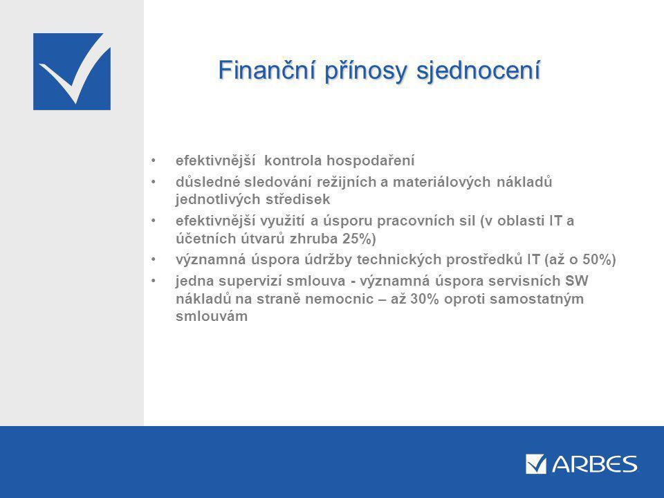 Finanční přínosy sjednocení •efektivnější kontrola hospodaření •důsledné sledování režijních a materiálových nákladů jednotlivých středisek •efektivnější využití a úsporu pracovních sil (v oblasti IT a účetních útvarů zhruba 25%) •významná úspora údržby technických prostředků IT (až o 50%) •jedna supervizí smlouva - významná úspora servisních SW nákladů na straně nemocnic – až 30% oproti samostatným smlouvám