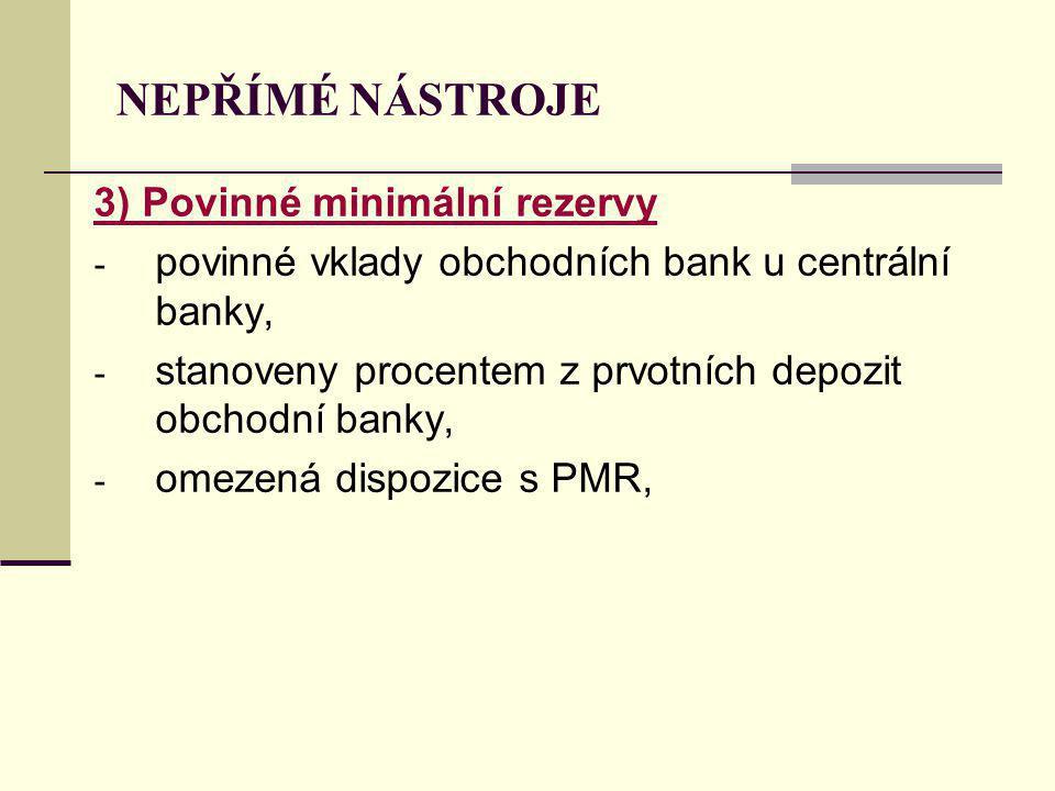 NEPŘÍMÉ NÁSTROJE 3) Povinné minimální rezervy - povinné vklady obchodních bank u centrální banky, - stanoveny procentem z prvotních depozit obchodní banky, - omezená dispozice s PMR,