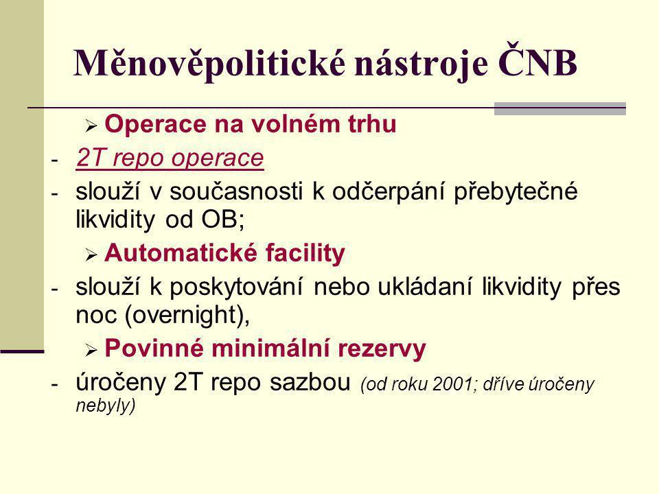 Měnověpolitické nástroje ČNB  Operace na volném trhu - 2T repo operace - slouží v současnosti k odčerpání přebytečné likvidity od OB;  Automatické facility - slouží k poskytování nebo ukládaní likvidity přes noc (overnight),  Povinné minimální rezervy - úročeny 2T repo sazbou (od roku 2001; dříve úročeny nebyly)